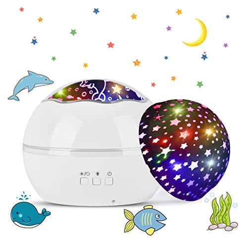 Tyhbelle LED Projektor Lampe,Sternenhimmel Baby Nachtlicht 2 in 1 Ozean Projektor & Sterne Nachttischlampe 360° Grad Rotation Projektionslampe 8-Farbwechsel Perfekt für Kinder Schlafzimmer (Weiss)