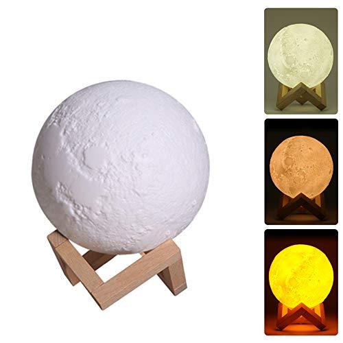 Fesjoy Humidificador LED,880 ml Uso doméstico Humidificador Lunar LED Difusor de lámpara de Luna 3D Aroma Aceite Esencial Purificador de Niebla Recargable USB