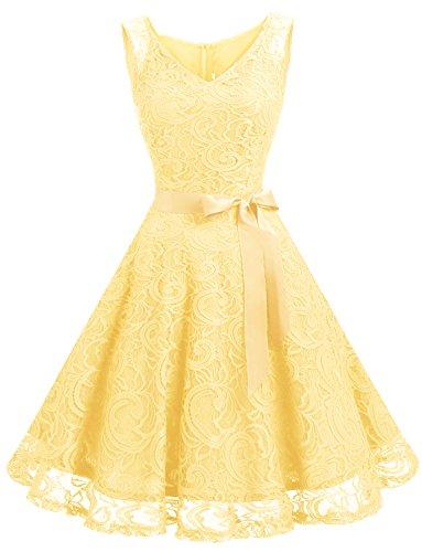 Dressystar DS0010 Brautjungfernkleid Ohne Arm Kleid Aus Spitzen Spitzenkleid Knielang Festliches Cocktailkleid Gelb M