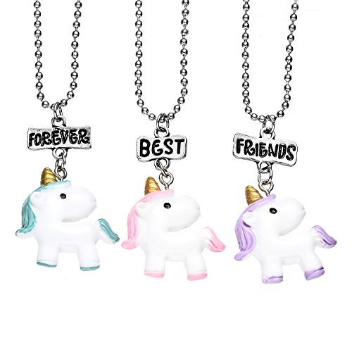 ONNEA BFF Best Friends Resina Dijes Collares Amistad para 3 Niñas (Unicornio 3 Azul Rosa púrpura)