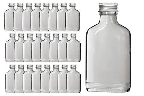 mikken 25 x Flachmann 100ml Glasflaschen zum selbstbefüllen, inkl Trichter