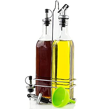 Olive Oil Dispenser - Olive Oil and Vinegar Bottle Set - 2 Glass Cruet Bottles (17oz) in Stainless Steel Holder - Olive Oil Container with 2 Pairs of Different Pour Spouts and Silicone Funnel