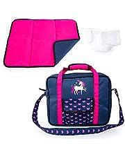 Bayer Design Accesorios para muñecas, Bolsa de pañales, Cambiador portátil, pañal muñeco, Azul, Rosado, Unicornio