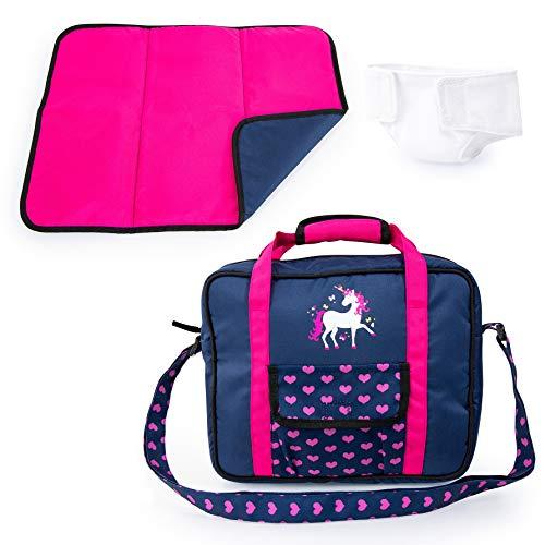 Bayer Design 69254AC Puppenzubehör, Puppenpflege Set, Wickelset für Puppen, Zubehör für Babypuppen mit Wickeltasche, Wickelunterlage, genähte Windel, blau, pink mit Einhorn u. Herzen