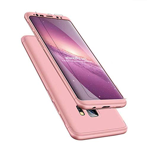 ISADENSER for Samsung Galaxy J8 2018 Case Ultra Slim 2 in 1 Shockproof 360°Full Body Front Back Hard PC Plastic Anti-Scratch Cover Compatible with Samsung Galaxy J8 2018,2IN1 PC - Rose Gold