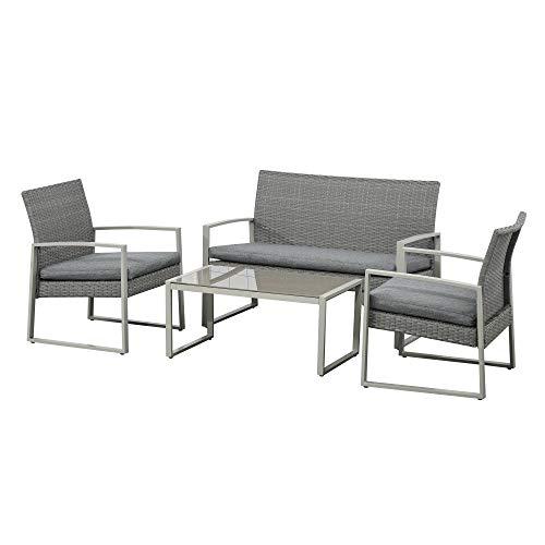 Outsunny Polyrattan Sitzgarnitur 4 TLG. Sitzgruppe Gartenset Sofagarnitur Gartenmöbel Set Lounge Metall modern Grau