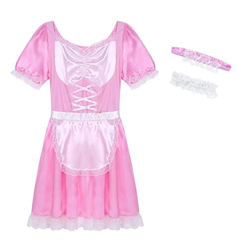 Agoky Herren Sissy Dessous Muskel Maid Diener Uniform Kostüm Outfit Kurzarm Satin Kleider mit Halsband und Stirnband Cosplay Nachtwäsche Rosa Medium