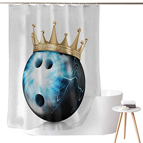 Dasnh Shower Curtains for Bathroom Sets red Crown on Artistic Ball Bowling King Champion Victory Theme Print W72 x L78 Waterproof for Bathroom