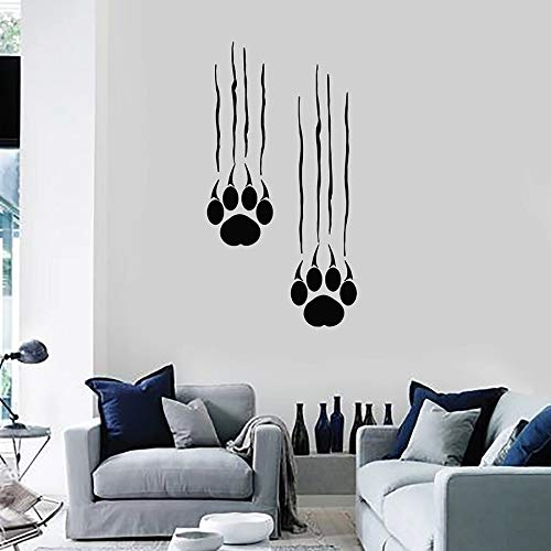 Quszpm Wandtattoo Bär Fußabdruck Pfote Tierpfote Vinyl Fenster Aufkleber Schlafzimmer Home Decor Wandbild 57x107cm
