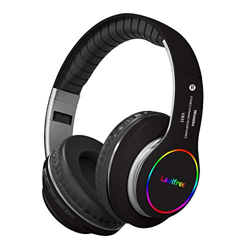 Bluetooth Headphones,Wireless/Wired Over Ear Headset,Hi-Fi Bass Stereo, Built-in Mic,LED Light Up,Foldable,Micro SD/TF, FM for Adult Teen Kid for Phone/Samsung/Pad/PC/Android/Laptop/TV(Black)