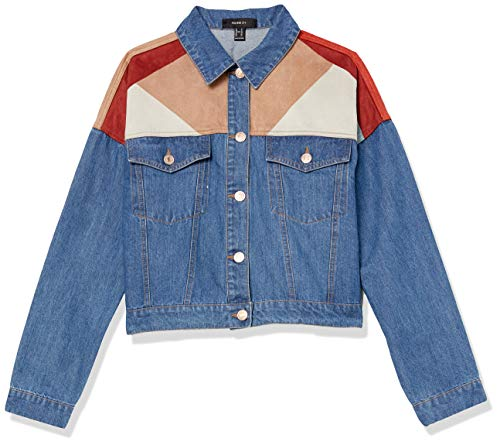 Forever 21 Women's Plus Size Colorblock Jacket, Denim/Multi, 1X