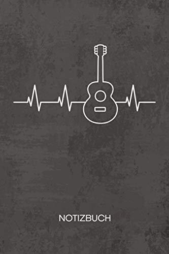 NOTIZBUCH A5 Dotted: Gitarrenspieler Notizheft GEPUNKTET 120 Seiten - Akustik Gitarre Notizblock Gitarrist Herzschlag Skizzenbuch - Musikinstrumente Geschenk für Musiker Sänger Instrumentalist
