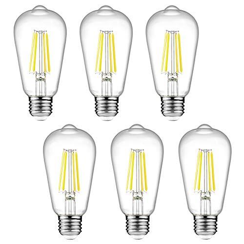 Bombillas LED Edison vintage Ascher regulables, 6 W, equivalente a 60 W, luz blanca brillante 4000 K, bombillas de filamento LED antiguas ST58, base mediana E26, cristal transparente, paquete de 6