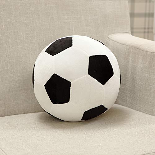 Creatief Knuffels, Zacht Voetbal Knuffels Kleurrijk Gevuld Bankkussen Kussen Creatief Cadeau Voor Kinderen Jongens 30 Cm Zwart