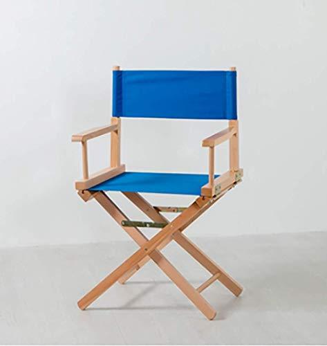Raxinbang Folding Chair Solid Wood regissörsstolen Outdoor Portable fällstol Makeup hög pall Leisure Beach Chair 45 * 40 * 86cm (Color : Blue)
