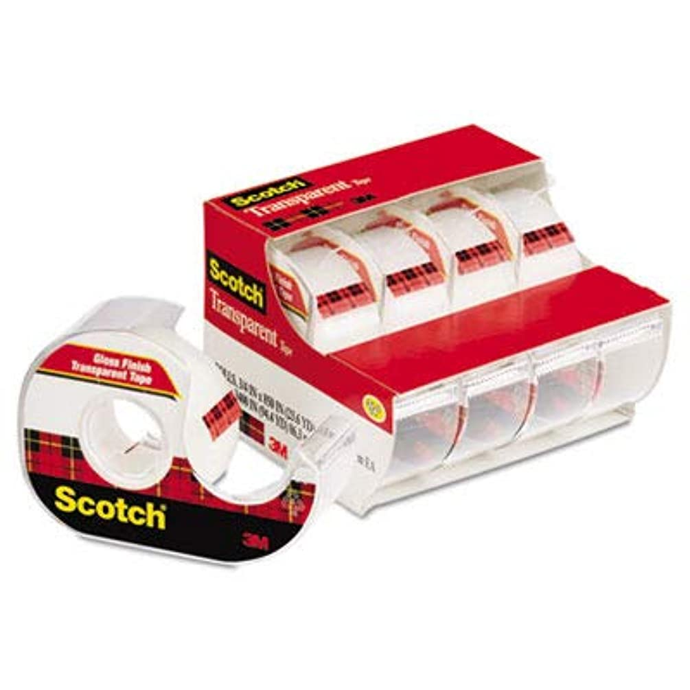 Scotch Glossy Transparent Tape - 0.75quot; Width x 70.83 ft Length - 1quot; Core - Photo-Safe - Dispenser Yes - 4 / Pack - Clear