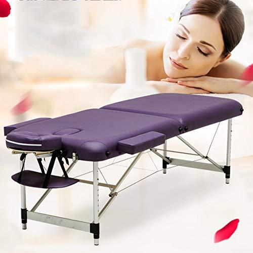 Massagetisch Tragbare Massagetisch Schönheit Bett Leichte Couch SPA mit Aluminiumrahmen Bed and Carry Bag Für Tattoo Beauty Salon (Color : Purple, Size : 186x71cm)