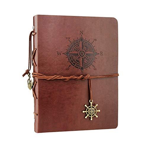 VEESUN Cuaderno de Cuero A5, Retro Libreta de Viaje, Cuaderno Vintage Agenda, Recargable Bloc de Libros en Blanco Diary Regalo, Diario de La Vendimia Regalo Para Hombres Mujeres Estudiantes, Brújula
