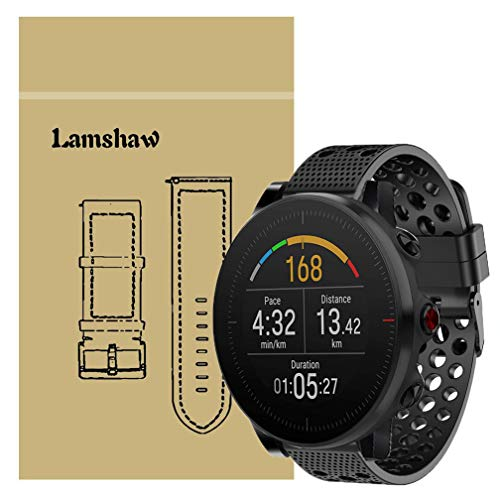 for Polar Vantage M Band, Lamshaw Silicone Replacement Wristbands Sport Strap with Metal Buckle for Polar Vantage M Smartwatch (Black)