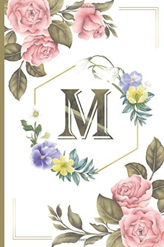 M: Calla lily notebook flowers Personalized Initial Letter M Monogram Blank Lined Notebook,Journal for Women and Girls ,School Initial Letter M floral vintage pink peonies 6 x 9