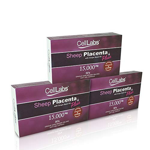 3X CellLabs 15,000mg Sheep Placenta with Grape Seed Oil Lycopene Astaxanthin, Reduce Fine Lines and Wrinkles, Promotes Anti Aging Benefits, Stem Cell Formula, for Men & Women 30's Capsules per Box