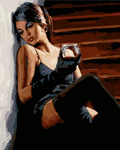 tytlwall Pittura A Olio su Tela Regalo per,Donna Che Beve Vino RossoDipinti Ad Olio con Numeri,Dipinto A Mano su Tela Decorazioni per La Casa Cornice