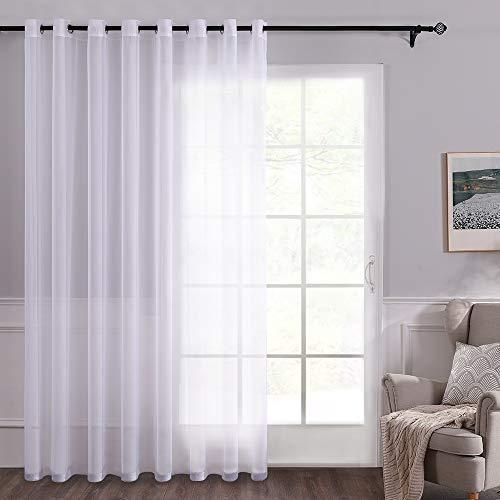 MIULEE Voile Tenda Trasparente con Occhiello per Finestra per Soggiorno e Camera da Letto 1 Pannello 300 x 175 CM Bianco