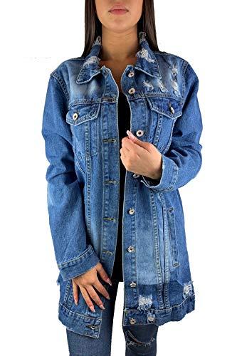 Worldclassca Damen Jeansjacke OVERSIEZED MIT Rissen Jeans Denim Jacket Vintage LANG Used WASH ÜBERGANGSJACKE Blogger DENIMWEAR Parka BLAU GRAU Denim Destroyed Mantel Cut Out Look S-XL NEU (S-M, Blau)