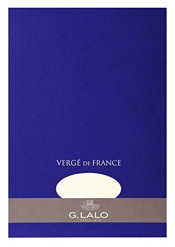 G.Lalo 12700L Schreibblock Vergé de France (perfekt für Ihre Einladungen, säurefrei, DIN A4, 21 x 29,7 cm, 50 Blatt, 100 g) weiß