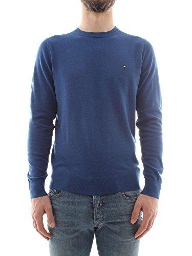 Tommy Hilfiger Cotton Silk Cneck Felpa, Blu (Limoges Heather 405), XX-Large Uomo