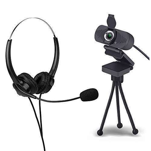 USB HD Webcam mit Sichtschutz & Objektivdeckel mit Mikrofon und Headset für Windows und Mac, mit Stativ, für Laptop, für Monitor, für Home Office, für Videokonferenz, 1080p, mit Mikro