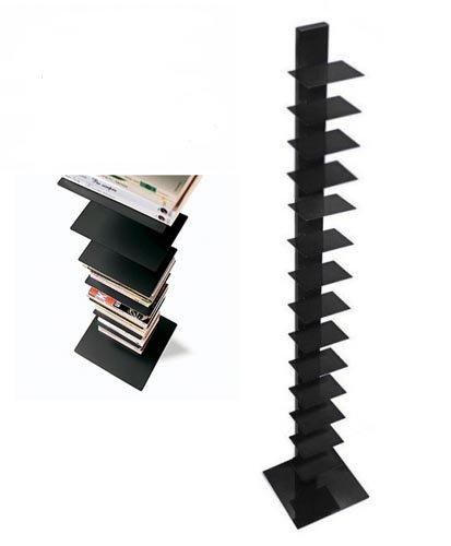 libreria a colonna sapiens h 202 base 35x35 14 ripiani in metallo laccato nero opaco della ditta sintesi