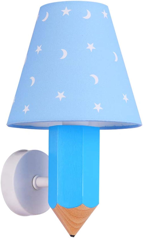 Kinderzimmer Wandleuchte LED Massivholz Wandleuchte Kreative Bleistift Wandleuchte Blau Dimmbare Beleuchtung