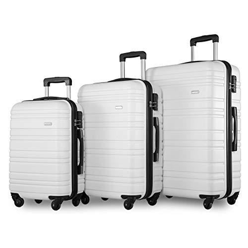 BHNACM 4 Wheel Travel Trolley SuitcaseSet Of 3 Light Weight White Hardshell Luggage Set Holdall Case-20/24/28 Inch