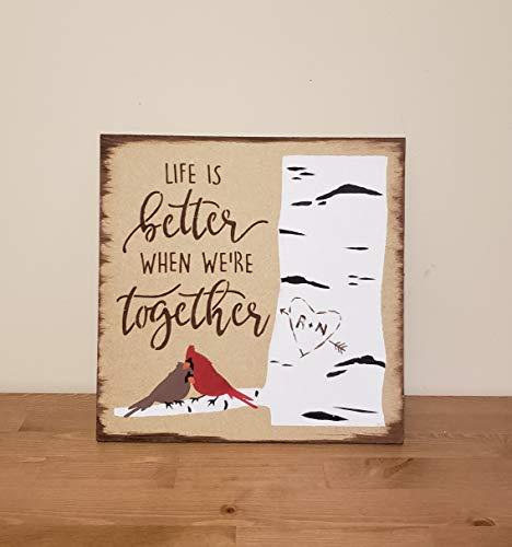Ced454sy Gepersonaliseerde eerste teken leven is beter wanneer waren samen rustieke huis decor cadeau voor vriend vriendin hout schilderij vogels kardinaal