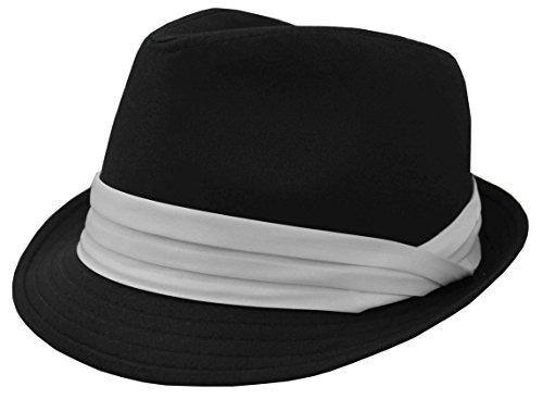 K Men's Fedora Black with White Band (Large)