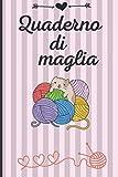 Quaderno di maglia: Quaderno per i vostri lavori ai ferri | fogli quadrettati per annotare i vostri progetti con schemi e descrizioni | 120 pagine per ... x 22,86 cm) (Cover gatto strisce rosa)