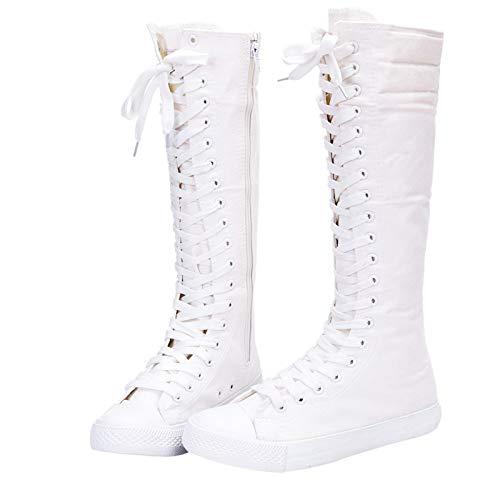 Yirenhuang Damen Mode Knie Hoch Leinwandstiefel Schnüren Reißverschluss Eben Sportschuhe Mädchen Tanzschuhe Weiß F888 EU35