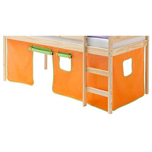IDIMEX Vorhang Gardine Bettvorhang Classic zu Hochbett Rutschbett Spielbett in grün/orange