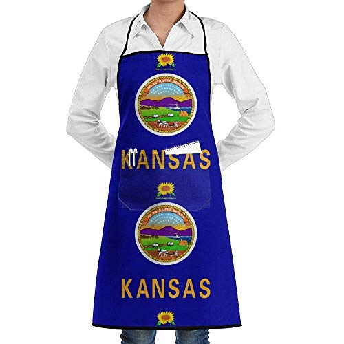 Kochschürze Personalized Kitchen Aprons Kansas Flag with Front Pockets Black Unisex Adult Kids Children Durable Cooking Baking Kitchen Restaurant Chef Apron Pinafore with Neck Strap One Size Artist S
