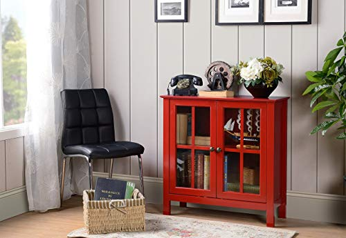 American Furniture Classics OS Home and Office Accent and Display Cabine Glass Door Cabinet, Red Paint