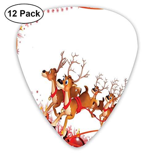 Guitar Picks12 plectrums (0,46 mm - 0,96 mm), abstract frame met Xmas ballen en Snowflakes Flying Reindeer Carriage, voor je gitaar of ukelele