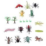 KESYOO 14 Pcs Figuras de Insetos de Plástico Modelo de Bug de Inseto Brinquedo Borboleta Ãrvore Morcego Abelha Centopéia Joaninha Lagosta Haste Miniatura Brinquedo Educativo para Jardim