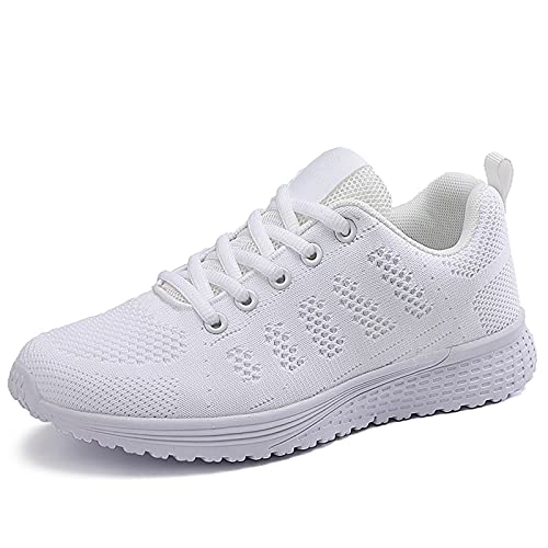 Zapatillas de deporte para mujer, ligeras, para correr, casual, atlética, de moda, para zapatos, de malla, gimnasio, trabajo transpirable, White, 39.5 EU
