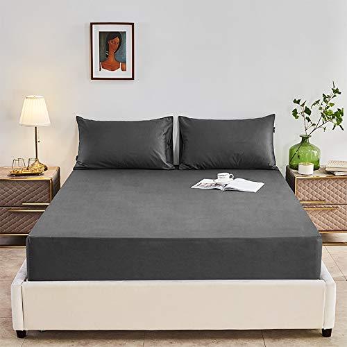 HAIBA Bedding Lenzuolo con angoli elasticizzati in microfibra spazzolata, tasca profonda, 150 x 200 cm
