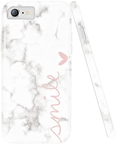 DOUJIAZ Bling Glitter Sparkle Rose Gold Marble Design White Bumper TPU Soft Rubber Silicone Phone Case Compatible with iPhone 7/8 /6 /6s