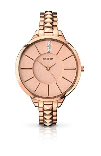 SEKONDA 2015.27 - Reloj de Pulsera para Mujeres, Correa de Otros Materiales, Color Dorado