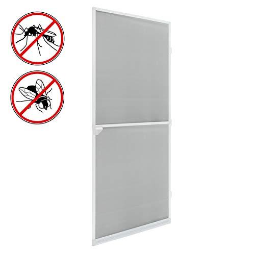 ECD Germany Insektenschutz Fliegengitter für Tür mit Aluminium Rahmen - 100 x 220 cm - Weiß - wetterfestes Moskitonetz aus Fiberglasgewebe - Insektenschutztür Fliegenschutz Mückenschutz Mückengitter