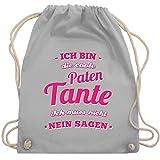 Shirtracer Schwester & Tante - Ich bin die coole Patentante - Unisize - Hellgrau - nikolaus geschenke - WM110 - Turnbeutel und Stoffbeutel aus Baumwolle