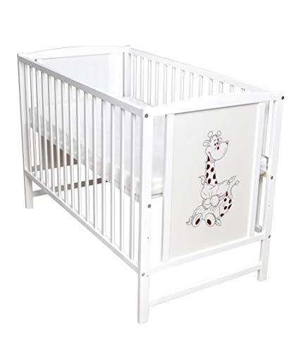 Cuna para bebé con diseño de jirafa, 120 x 60 cm, color blanco con colchón.